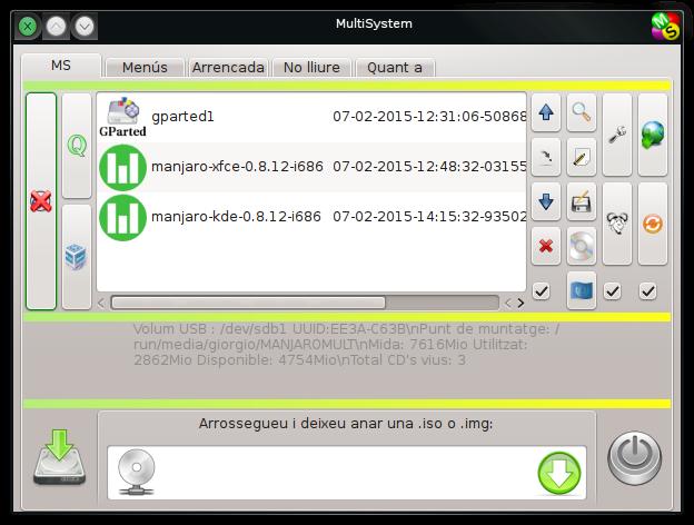MultiSystem amb dues Manjaro instal·lades.